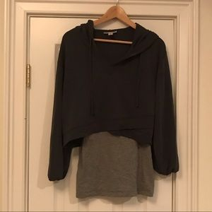 Navy and grey maternity top